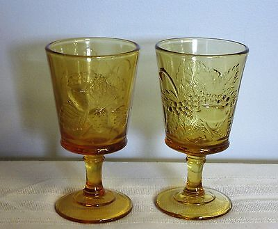L G Wright amber goblets Strawberry & Currant stemmed goblet made by Fenton