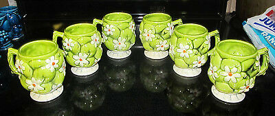 Vintage Inarco Green w/ White Daisy Daisies Design Coffee Mug Set 1950 1960 Era