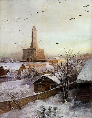 """Oil painting Savrasov - Sukharev Tower in Moscow landscape with flying birds 36"""""""