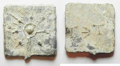 ZURQIEH -aa713- Hellenistic lead weight (49 x 45mm, 71.35g).