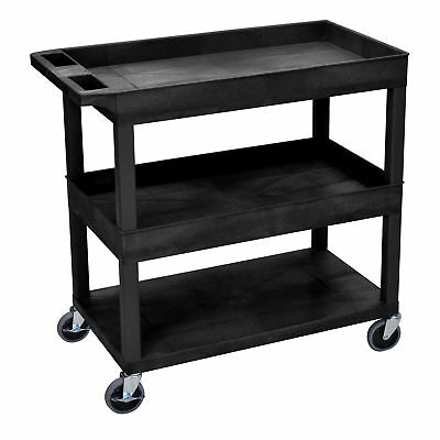 Luxor E Series Utility Cart with 2 Tub and 1 Flat Shelves Black