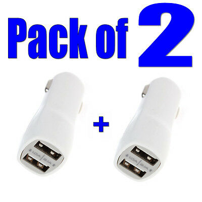 2x White Dual USB In-Car Charger Twin Port 1.0A+2.1A for iPhone 6/5/4 iPad Mini