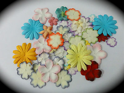 40 x FLOWER HEADS Mixed PackMULBERRY PAPER FLOWERS - Cardmaking Embellishments