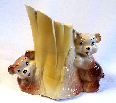 Vintage Bear Planter Baby Cubs Playing Around a Tree Stump Yellow Ceramic 5.5""