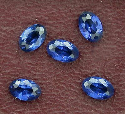 Two 6x4 Synthetic Oval Cut Royal Blue Sapphire Color Lab Grown Gemstone Gem 4018