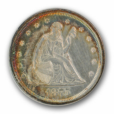 1875-S 20C Twenty Cent Piece Uncirculated Mint State Rainbow Toned Cleaned R640
