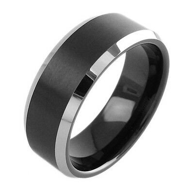 7 Pieces Wholesale Lot Tungsten Black Brushed Wedding Band Ring 8mm