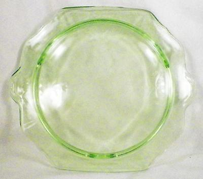 Princess Cake Plate Stand Green Depression Glass Anchor Hocking Vintage As Is