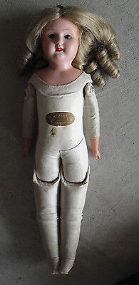 "Vintage 1910s Germany Celluloid Violet Kid Leather Body Blonde Girl Doll 20"" T"