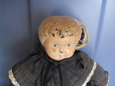 "Vintage 1910s Metal Head Minerva 2 Germany Cloth Body Girl Doll 12"" Tall"