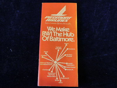 Vintage July 15, 1983 Piedmont Airlines Timetable System Schedule Baltimore  R85