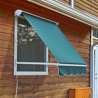 Outsunny 6FT Mesa Window Retractable Awning Sun Shade Shelter Canopy Green