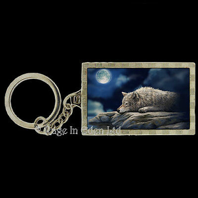 *QUIET REFLECTION* Goth Fantasy Wolf Art 3D Keyring By Lisa Parker