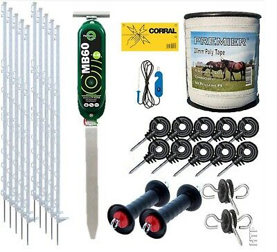 Electric Fence Starter Kit With Fenceman Battery Energiser - 4Ft Posts 20Mm Tape