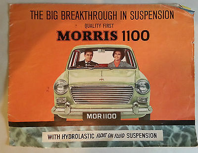 Vintage 60s Morris 1100 Marketing Brochure. Folds Out to Wall Art. Automobilia