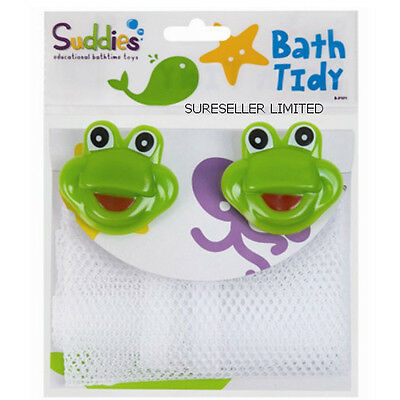 Frog Baby Bath Toys Tidy Storage Net Bag - 2 Hanging Suction Cups Bathroom