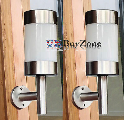 Stainless Steel LED Solar Powered Garden Wall Fence Lights Outdoor Lantern 1/ 2