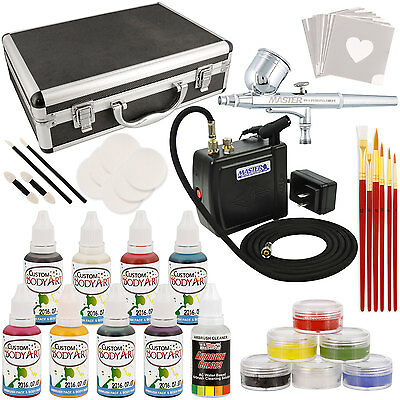 Master Deluxe Face and Body Painting Kit w/ 16 Water-Based Airbrush Colors, Case