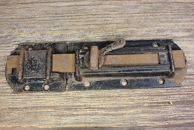 "1860's House Shutter Latch vintage old rustic iron slide bolt 8 7/8"" stripped"