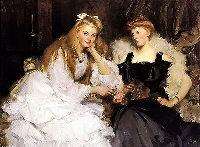 Oil painting James Jebusa Shannon - beautiful young portrait of two ladies 36""