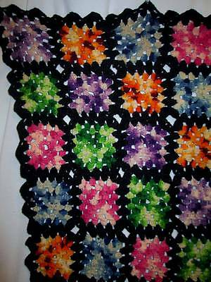 Vintage Granny Square Afghan Crochet Throw Blanket Black Multi-Color 45x66