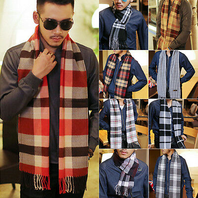 Mens Classic Cashmere Shawl Winter Warm Long Fringe Check Tassel Scarf