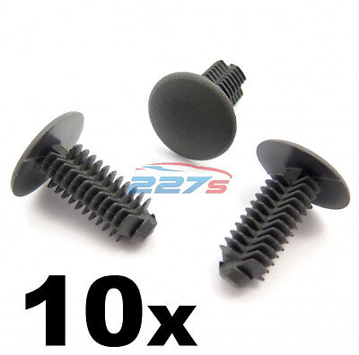 10x Plastic Fir Tree Trim Clips- 8mm Hole, 18mm Head, Dark Grey- Perfect for VW