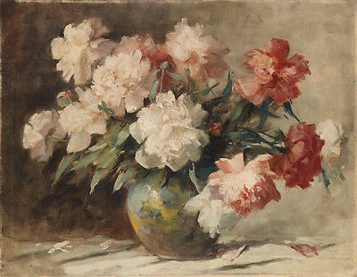 No framed canvas Oil painting beautiful still life peony flowers in nice vase