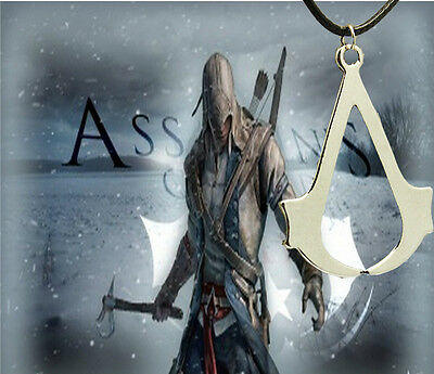 Assassins Creed Ezio Deiss Mond Pendant Necklace Leather In Gift Bag Cosplay