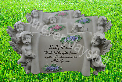 Memorial Stone Scroll Plaque Cherubs Flowers Grave Stone Ornament Special Missed