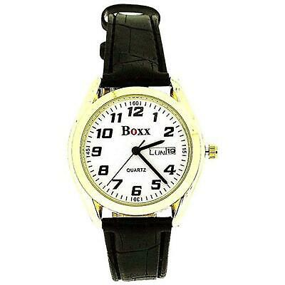 Boxx Gents Mens Day/Date Gold Tone Casing-Bezel Black PU Strap Every Day Watch