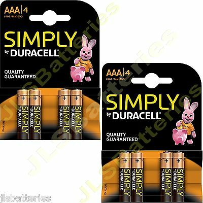 8 x SIMPLY DURACELL AAA MN2400 LR03 Batteries 1.5V ALKALINE 2 PACKS 4