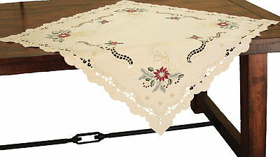 Xia Home Fashions Golden Glow Embroidered Cutwork Christmas Table Topper