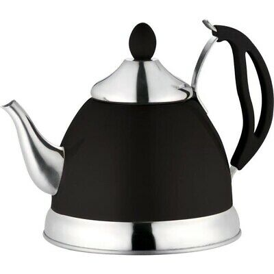 Black 1.5L Stainless Steel Tea Pot Removeable Infuser And Non Drip Spout Teapot