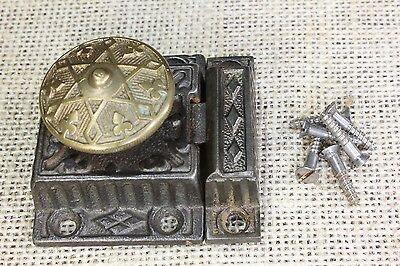 "Cabinet latch cupboard 2 1/8"" catch 6 point star brass knob old vintage 1871"