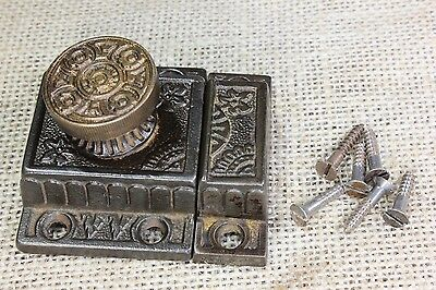"Cabinet latch jelly cupboard 2 1/8"" catch flowers brass knob old vintage 1871"