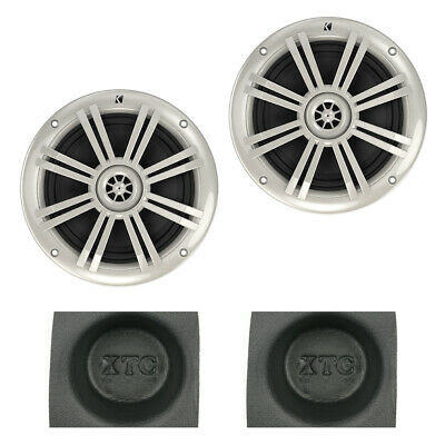 "Kicker KM604W KM-Series 6.5"" Marine Coaxial Speaker Pack with Round Baffle Pair"