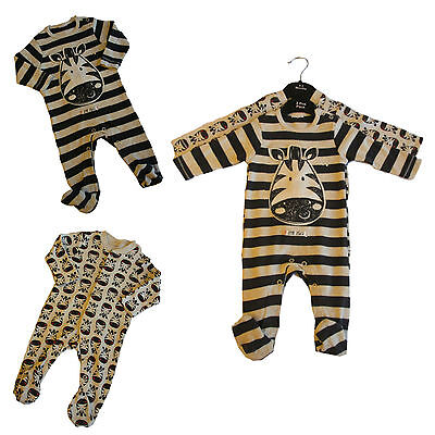 Baby Boy 2 Pack Babygrows Sleepsuits Onezie Stretchies Soft 100% Cotton Ex Store