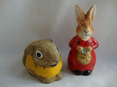 2 Vtg Germany  Composition  Bunny Rabbit Candy Containers- As Is