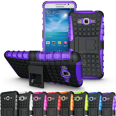 For Samsung Galaxy Grand Prime G530 Rugged Armor Hybrid Stand Case Rubber Cover