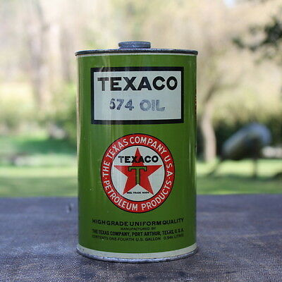 Vintage Texaco 574 Oil Can 1/4 One Fourth Gallon Petroleum Motorcycles Airplane
