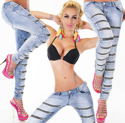 Women's Slim Skinny Zip Stretch Denim Jeans - XS/S/M/L/XL