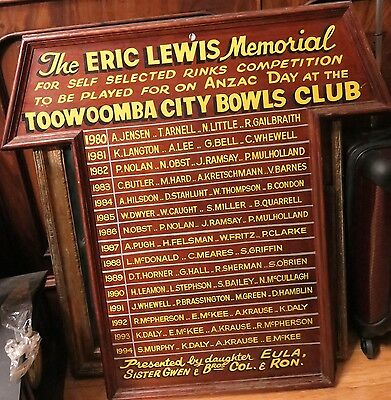 .rare / Unsual Collectable. Toowoomba City Lawn Bowls Club Honor Board Anzac Day