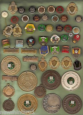 #D46. ABOUT 54  MOSTLY  AIR RIFLE  PRIZE BADGES, MEDALS, PIN etc - 1970s