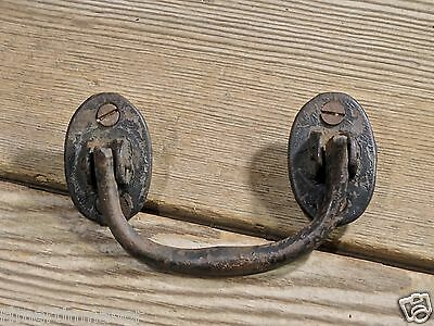 """old drop handle Drawer Pull rustic shabby 4"""" cast iron furniture oval vintage"""