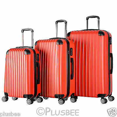 Set Of 3 Piece Travel Luggage 4 Wheel Hand Trolley Suitcase Case Bag Hard Shell