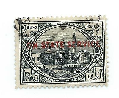 British Occupation of Iraq 1923 Official 2 r black ovpt. ON STATE SERVICE  used
