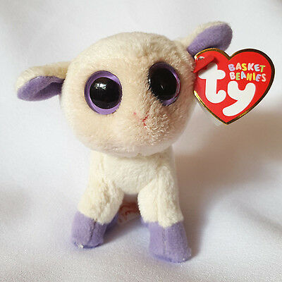 """Ty Basket Beanies Lily Lamb Cream Color Purple Big Eyes Easter Plush 4"""""""