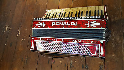 Vintage Red Renaldi Piano Accordian Accordion 120 Bass Keys Buttons In Hard Case