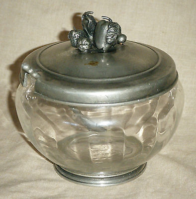 Vintage Etain French Pewter & Glass Sugar Bowl with Ornate Fruit Finial